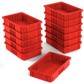 """Plastic Dividable Grid Container - DG92035,16-1/2""""L x 10-7/8""""W x 3-1/2""""H, Red - Pkg Qty 12"""