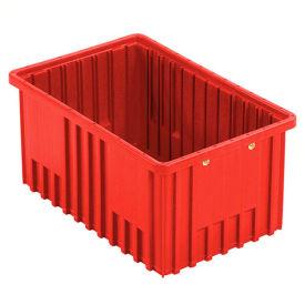 """Plastic Dividable Grid Container - DG92080,16-1/2""""L x 10-7/8""""W x 8""""H, Red - Pkg Qty 8"""