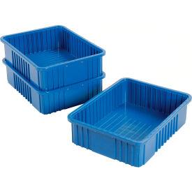 """Plastic Dividable Grid Container - DG93060, 22-1/2""""L x 17-1/2""""W x 6""""H, Blue - Pkg Qty 3"""