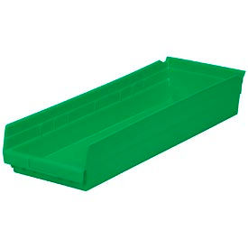 """Plastic Shelf Bin -  8-3/8""""W x 23-5/8"""" D x 4""""H Green - Pkg Qty 6"""
