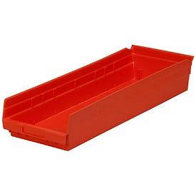 "Plastic Shelf Storage Bin - Nestable 8-3/8""W  x 23-5/8"" D x 4""H Red - Pkg Qty 6"