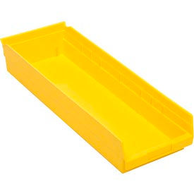 """Plastic Shelf Bin - 8-3/8""""W  x 23-5/8"""" D x 4""""H Yellow - Pkg Qty 6"""