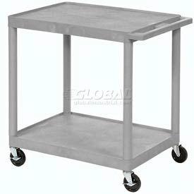 Luxor® HE38 Gray Plastic Shelf Truck 32 x 24 x 33 2 Shelves