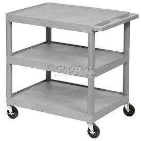 Luxor® HE33 Gray Plastic Shelf Truck 32 x 24 x 33 3 Shelves