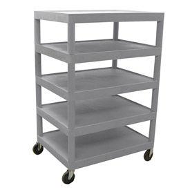 Luxor® BC55 Gray Plastic Shelf Truck 32 x 24 x 49 5 Shelves