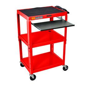 Red Adjustable Steel Workstation With Sliding Keyboard Shelf- Pkg Qty 1