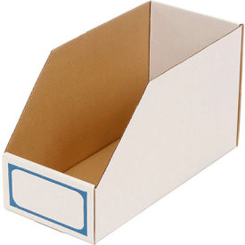 """Foldable Corrugated Shelf Bin 7-3/4""""W x 17-1/2""""D x 10""""H, White - Pkg Qty 27"""