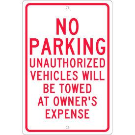 "Aluminum Sign - No Parking Unauthorized Vehicles - .063"" Thick, TM12H"