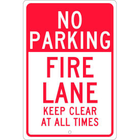 "Aluminum Sign - Fire Lane Keep Clear - .063"" Thick, TM47H"