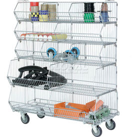 "Modular Wire Stacking Bin Basket Rack, 36""W x 20""D x 51""H, 5 Wire Bins"