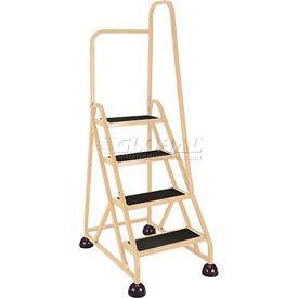 4 Step Aluminum Rolling Ladder, Beige - 1041-19-R