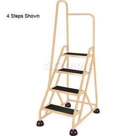 5 Step Aluminum Rolling Ladder, Beige - 1051-19-R