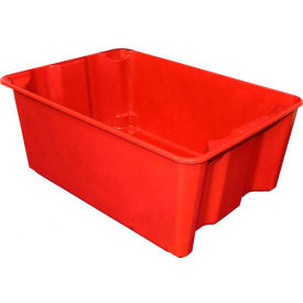 "Molded Fiberglass Nest and Stack Tote 780608 - 25-1/4"" x 18"" x10"", Pkg Qty 5, Red - Pkg Qty 5"