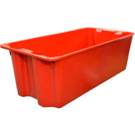 "Molded Fiberglass Nest and Stack Tote 780008 with Wire - 42-1/2"" x 20"" x 14-1/4"", Red"