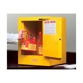 Justrite Flammable Liquid Cabinet, 4 Gallon, Self-Close Single Door Vertical Storage