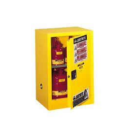 Justrite Flammable Liquid Cabinet, 12 Gallon, Self-Close Single Door Vertical Storage