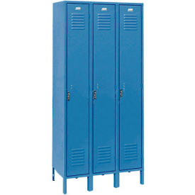 Penco 6115V-3-806-SU Vanguard Locker Pull Latch Single Tier 12x18x60 3 Doors Assembled Marine Blue