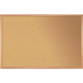 "Ghent® Cork Bulletin Board - Hardwood Oak - 46.5""W X 36""H"
