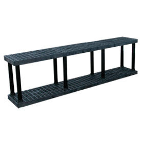 """Structural Plastic Vented Shelving, 96""""W x 16""""D x 27""""H, Black"""