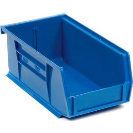 Quantum Plastic Stacking Bin QUS220 4-1/8 x 7-3/8 x 3 Blue - Pkg Qty 24