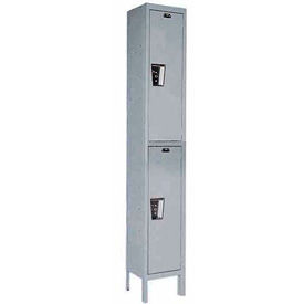 Hallowell UY1588-2 Maintenance-Free Quiet Locker Double Tier 15x18x36 2 Door Ready To Assemble Gray