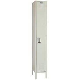 Lyon Locker PP5042 Single Tier 12x18x72 1-Wide Recessed Handle Ready To Assemble Putty