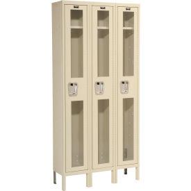 Hallowell USV3258-1PT Safety-View Locker Single Tier 12x15x72 - 3 Doors Unassembled - Tan