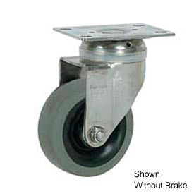 "Faultless Stainless Steel Swivel Plate Caster S890-4TB 4"" TPR Wheel with Brake"