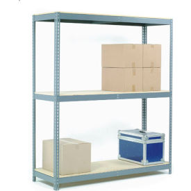 "Wide Span Rack 72""W x 36""D x 60""H With 3 Shelves Wood Deck 900 Lb Capacity Per Level"