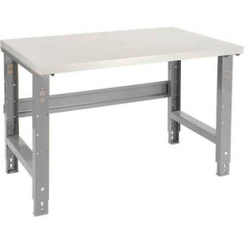 """48""""W X 30""""D Plastic Laminate Square Edge Work Bench - Adjustable Height - 1-5/8"""" Top - Gray"""