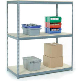 "Wide Span Rack 96""W x 36""D x 84""H Avec 3 étagères Wood Deck 1100 Lb Capacity per Level - Gray"