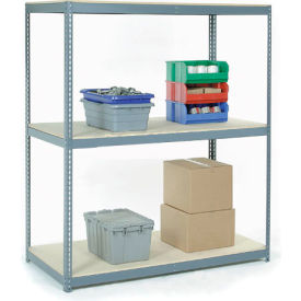 """Wide Span Rack 48""""W x 24""""D x 60""""H With 3 Shelves Wood Deck 1200 Lb Capacity Per Level - Gray"""