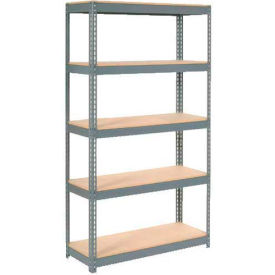 "Extra Heavy Duty Shelving 48""W x 24""D x 84""H With 5 Shelves - Wood Deck - Gray"