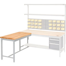 "48""W x 24""D Euro Style Production Workbench Return - Maple Butcher Block Square Edge - Gray"