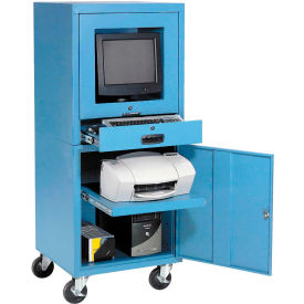 Global Industrial™ Mobile Security Computer Cabinet, Blue, Unassembled