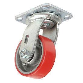 """Heavy Duty Swivel Plate Caster 4"""" Polyurethane Wheel 600 Lb. Capacity"""