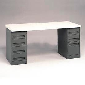 Pedestal Workbench 4-Drawer And 3-Drawer Pedestal