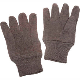 Brown Jersey Gloves, Size Large,  1 Dozen