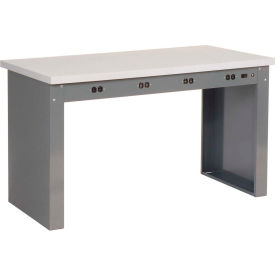 """72""""W x 36""""D Panel Leg Workbench With Power Apron and ESD Square Edge Top"""