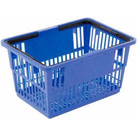 """Plastic Shopping Basket with Plastic Handle, Large, 19-3/8""""L X 13-1/4""""W X 10""""H, Blue, Good L ® - Pkg Qty 12"""