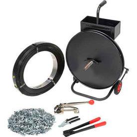 Trousse de cerclage en acier avec bobine de1/2 po x2 940 pi etappareil à tension, sertisseur, sceaux et chariot