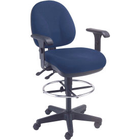 Office Stool With Arms - Fabric - 360° Footrest - Blue