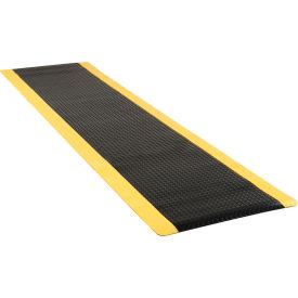 "Diamond Plate Ergonomic Mat 15/16"" Thick 36""x144"" Black/Yellow Border"