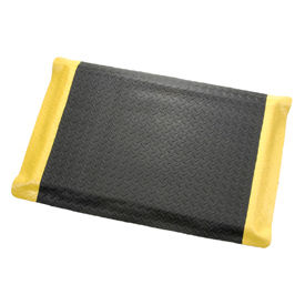 "Diamond Plate Ergonomic Mat 15/16"" Thick 48""W Cut Length 1Ft Up To 75Ft, Black/Yellow Border"