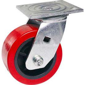 """Faultless Swivel Plate Caster 1498-5 5"""" Polyurethane Wheel"""