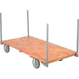 "Stake Handle Hardwood Deck Platform Truck 72 x 36 1200 Lb. Capacity 8"" Pneumatic Casters"