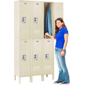 Infinity™ Locker Double Tier 3 Wide 12x18x36 Assembled Tan