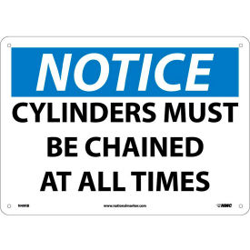 "Safety Signs - Notice Cylinders Must Be Chained - Rigid Plastic 10""H X 14""W"