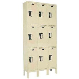 Hallowell UY3258-3A- Maintenance-Free Quiet Locker Triple Tier 12x15x24 - 9 Doors Assembled - Tan