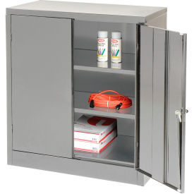 Tennsco Counter Height Industrial Storage Cabinet 1842-MGY - 36x18x42 Medium Grey